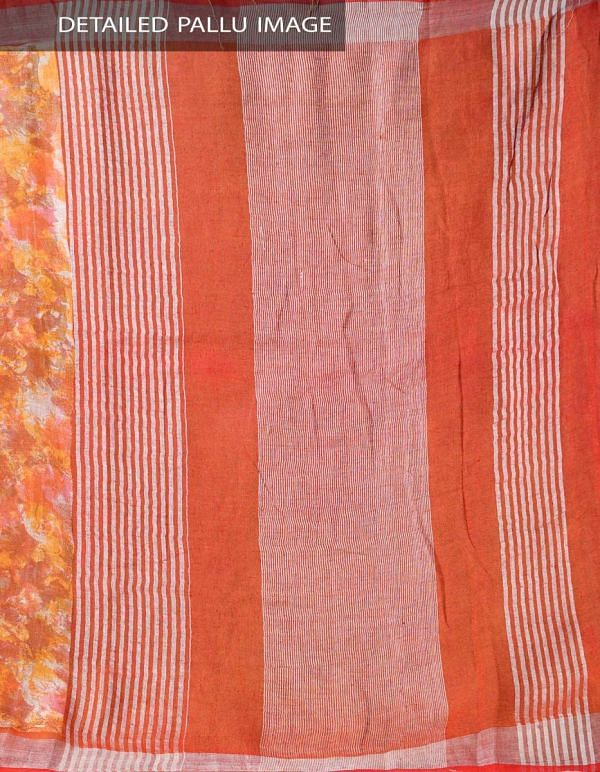 Multicolor Pure Handloom Linen Saree with Tassels