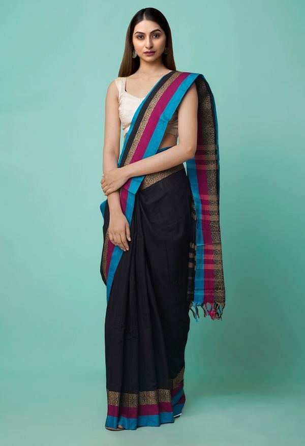 Online Shopping for Black Pure Handloom Narayanpet Cotton Saree with Tassels with Weaving from Andhra Pradesh at Unnatisilks.comIndia