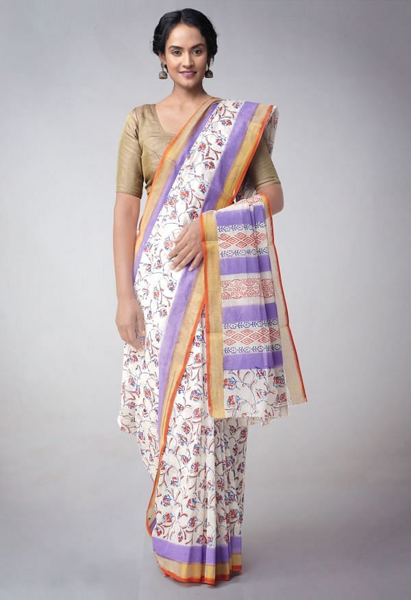 Online Shopping for Off White Pure Kerala Cotton Saree with Hand Block Prints with Hand Block Prints from Kerala at Unnatisilks.comIndia