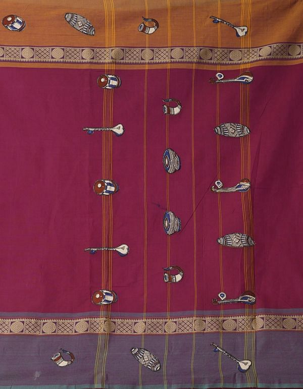 Burgundy Pure Handloom Kalamkari Chettinad Cotton Saree