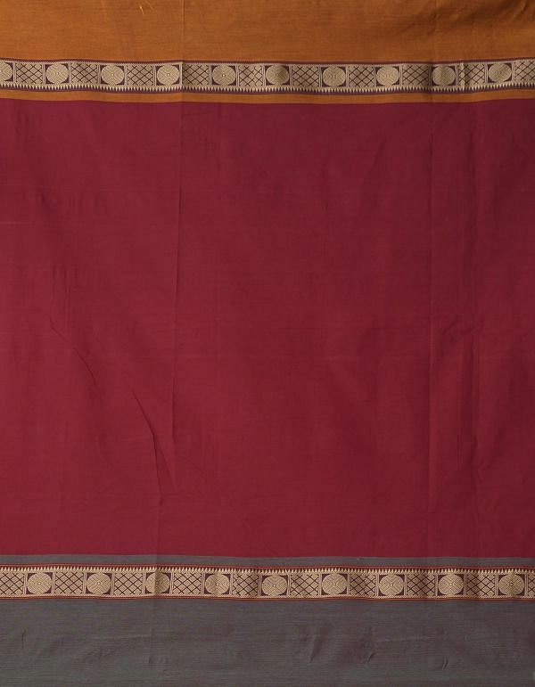 Maroon Pure Handloom Kalamkari Chettinad Cotton Saree