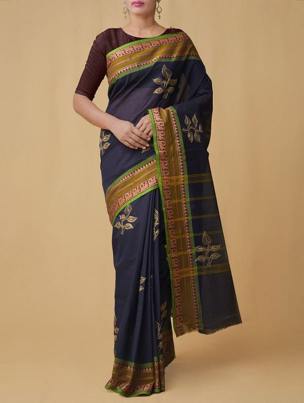 Online Shopping for Navy Blue Pure Handloom Mangalgiri Cotton Saree  with Embroidery Work from Andhra Pradesh at Unnatisilks.comIndia