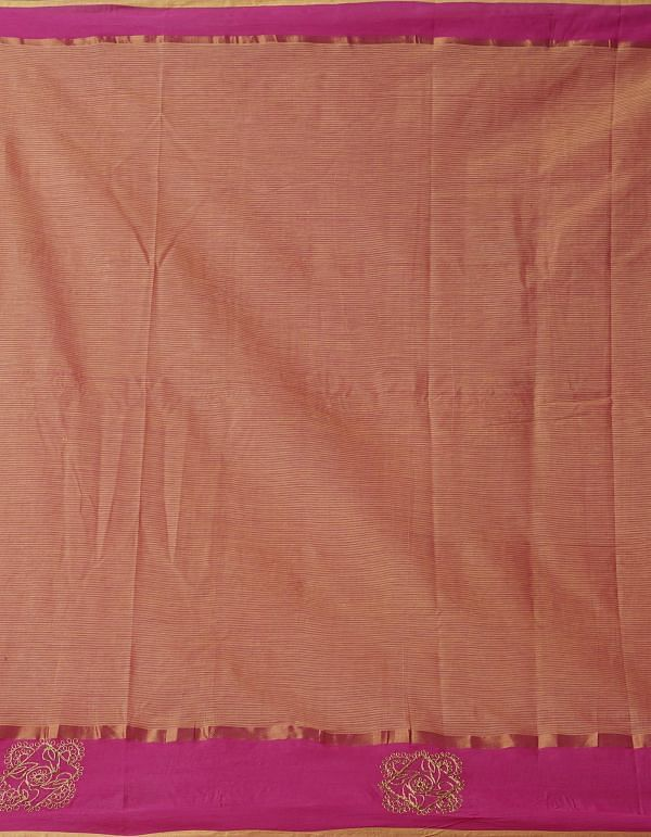 Online Shopping for Orange Pure Handloom Mangalgiri Cotton Saree  with Embroidery Work from Andhra Pradesh at Unnatisilks.comIndia