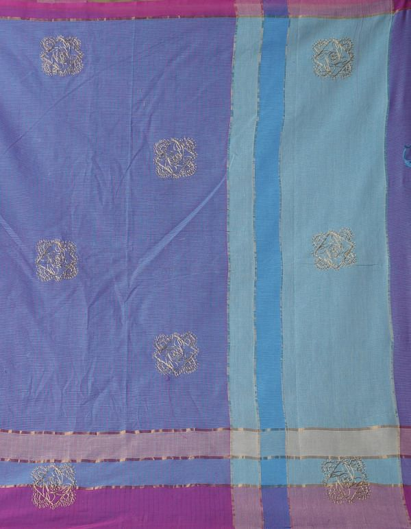 Online Shopping for Blue-Pink Pure Handloom Mangalgiri Cotton Saree  with Embroidery Work from Andhra Pradesh at Unnatisilks.comIndia