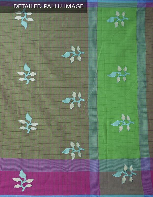Green-Pink Pure Handloom Mangalgiri Cotton Saree