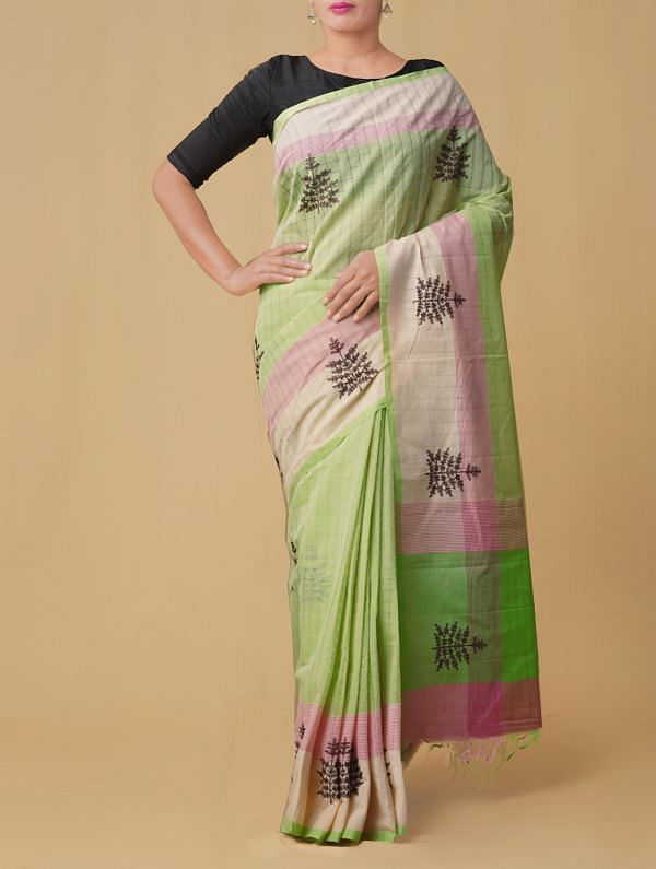 Online Shopping for Green-Pink Pure Handloom Mangalgiri Cotton Saree  with Embroidery Work from Andhra Pradesh at Unnatisilks.comIndia