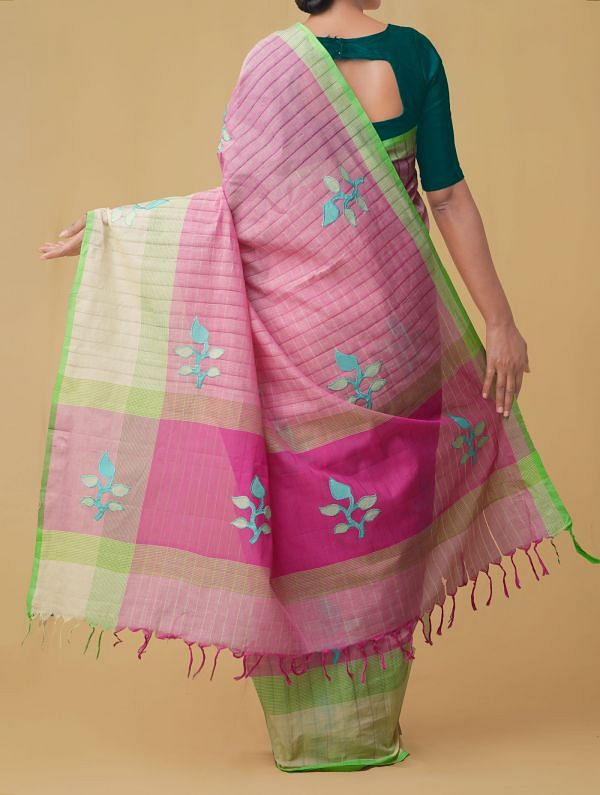 Pink Pure Handloom Mangalgiri Cotton Saree