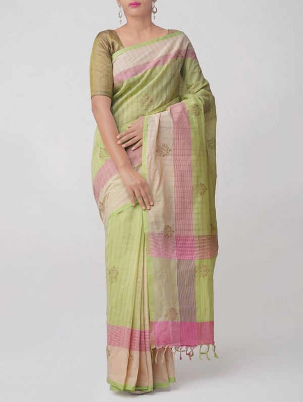 Green PureHandloom  Mangalgiri Cotton Saree