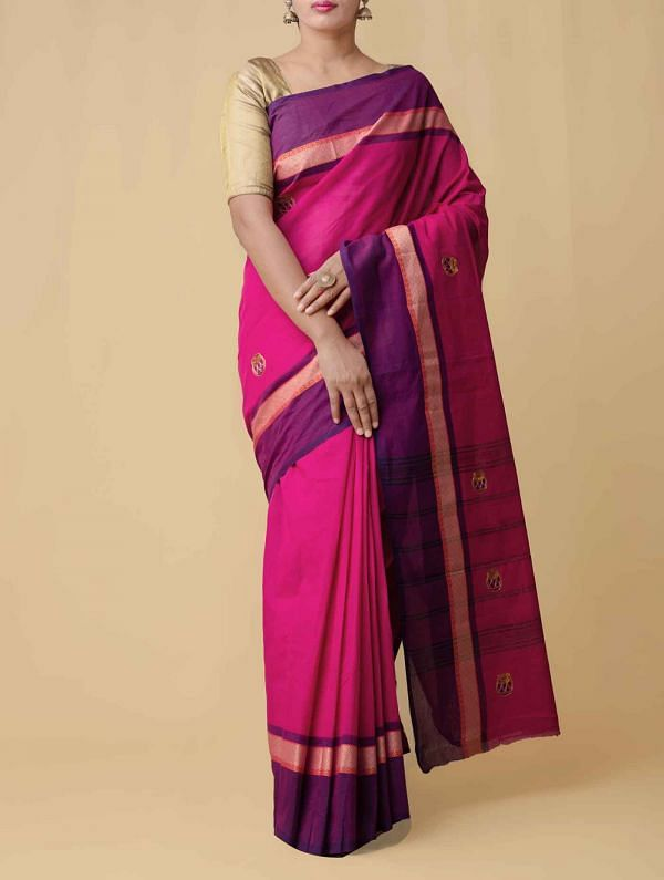 Online Shopping for Pink Pure Handloom Kanchi Cotton Saree with Weaving from Tamilnadu at Unnatisilks.comIndia