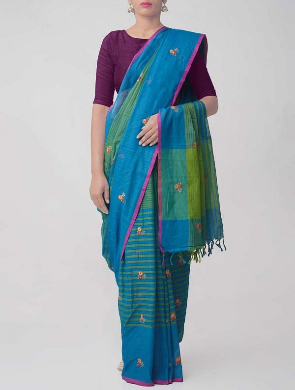 Online Shopping for Green Pure Handloom Mangalgiri Cotton Saree  with Embroidery Work from Andhra Pradesh at Unnatisilks.comIndia