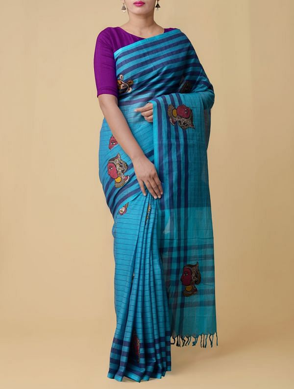 Blue Pure Handloom Kalamkari Mangalgiri Cotton Saree