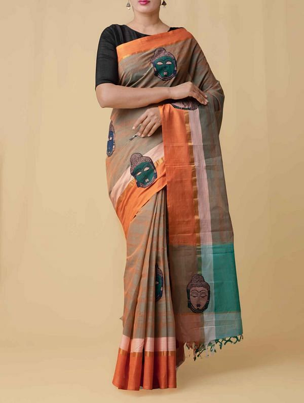 Orange-Green Pure Handloom Kalamkari Mangalgiri Cotton Saree