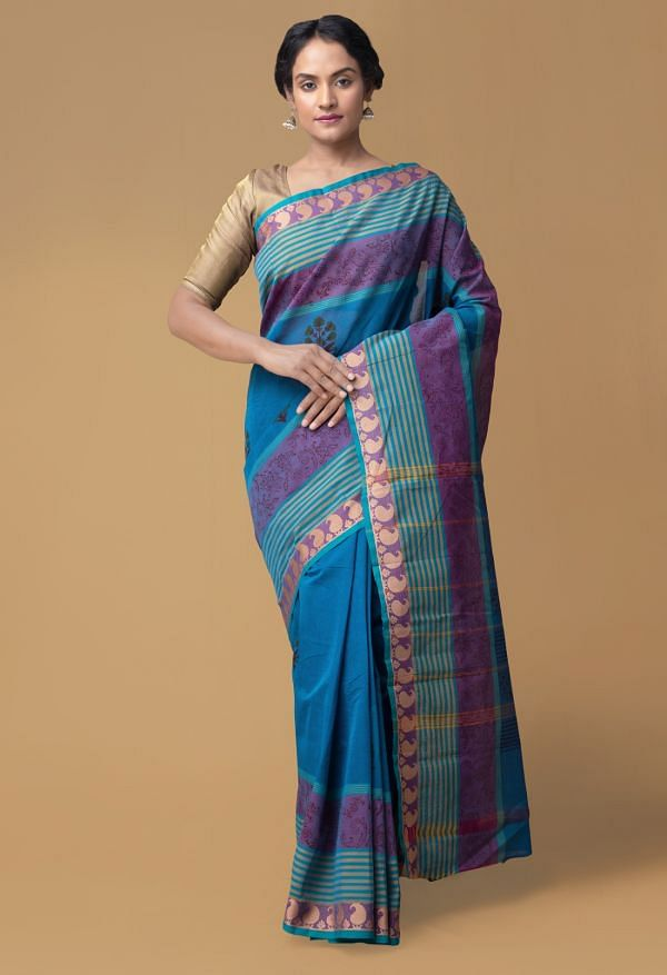 Online Shopping for Blue Pure Mangalagiri Cotton Saree with Hand Block Prints from Andhra Pradesh at Unnatisilks.comIndia