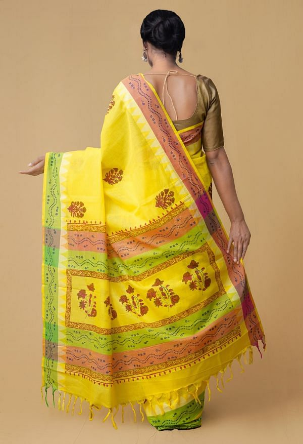 Yellow Pure Mangalagiri Cotton Saree
