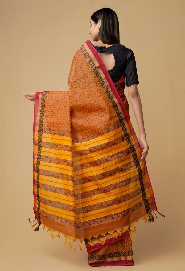 Rust Orange Pure Mangalagiri Cotton Saree