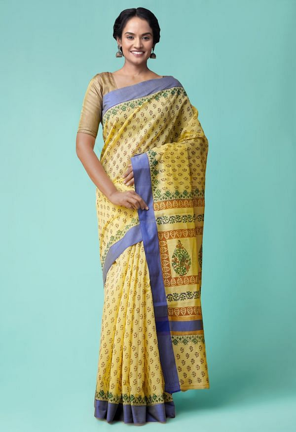Online Shopping for Yellow Pure Chanderi Sico Saree with Hand Block Prints from Madhya Pradesh at Unnatisilks.comIndia
