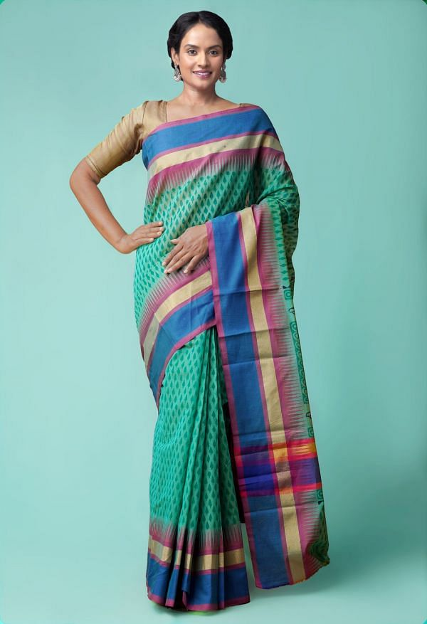 Online Shopping for Green Pure Chanderi Sico Saree with Hand Block Prints from Madhya Pradesh at Unnatisilks.comIndia