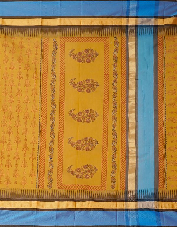 Online Shopping for Brown Pure Chanderi Sico Saree with Hand Block Prints from Madhya Pradesh at Unnatisilks.comIndia