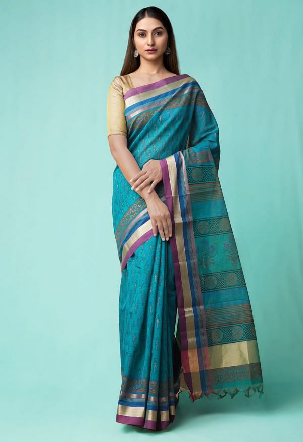Online Shopping for Green Pure Chanderi Sico Saree with Weaving from Madhya Pradesh at Unnatisilks.comIndia
