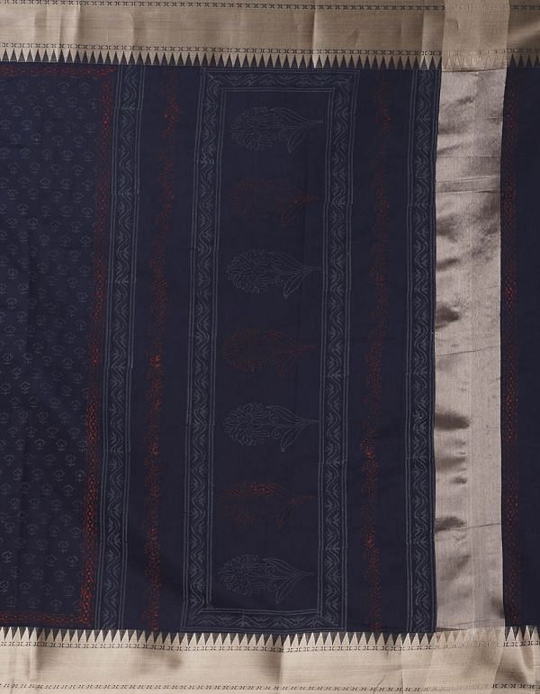 Online Shopping for Navy Blue Pure Chanderi Sico Saree with Hand Block Prints from Madhya Pradesh at Unnatisilks.comIndia