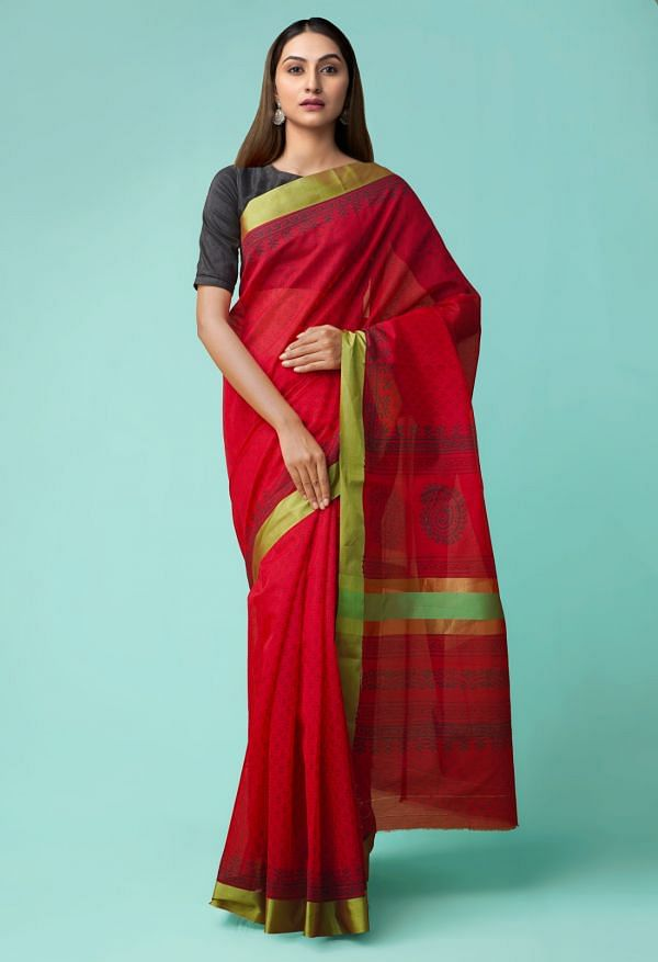 Online Shopping for Red Pure Chanderi Sico Saree with Hand Block Prints from Madhya Pradesh at Unnatisilks.comIndia