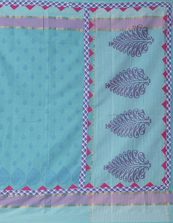 Online Shopping for Blue Pure Mangalagiri Applique  Cotton Saree with Applique from Andhra Pradesh at Unnatisilks.comIndia