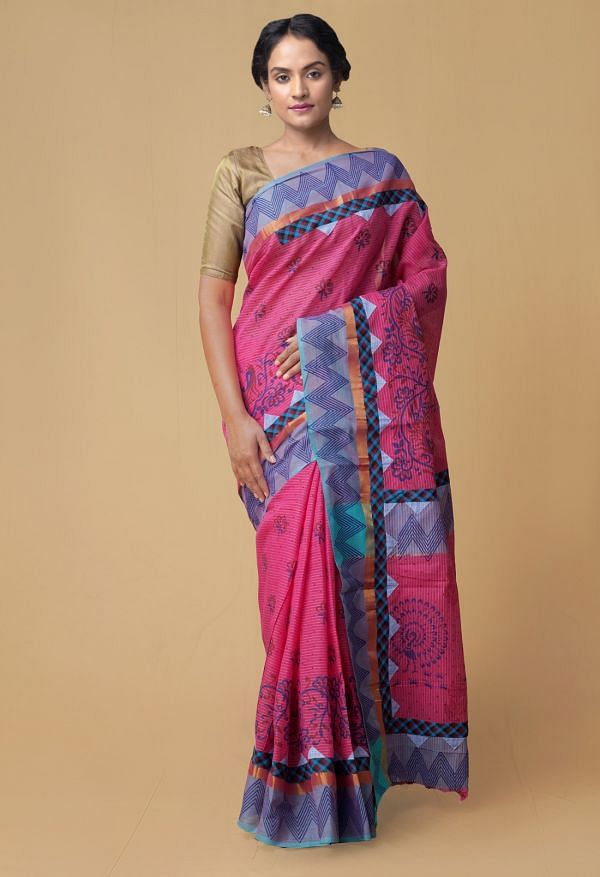 Online Shopping for Pink Pure Mangalagiri Applique  Cotton Saree with Applique from Andhra Pradesh at Unnatisilks.comIndia
