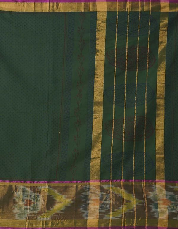 Green Pure Ikat Chettinad Cotton Saree
