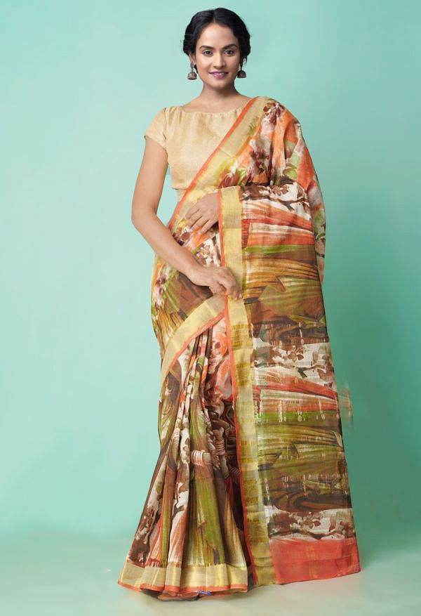 Online Shopping for Multi Pure Kerala Cotton Saree with Hand Paints with Hand Block Prints from Rajasthan at Unnatisilks.comIndia