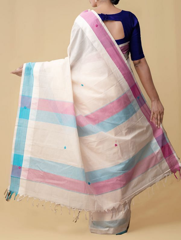 Cream Pure Handloom Mangalgiri Cotton Saree