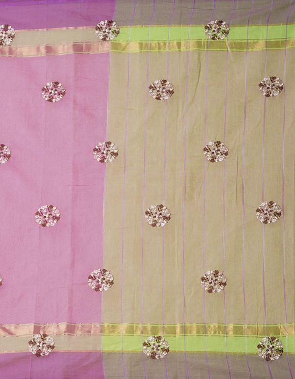 Online Shopping for Pink Pure Handloom Mangalgiri Cotton Saree with Embroidery from Andhra Pradesh at Unnatisilks.comIndia