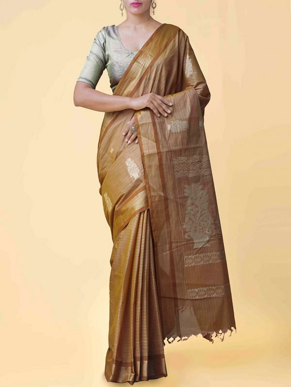 Brown Pure Handloom Chettinad Cotton Saree