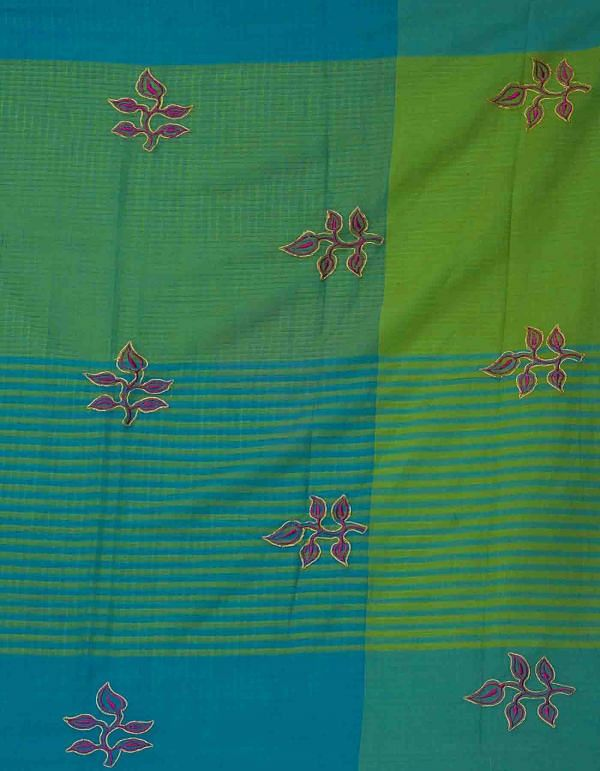 Online Shopping for Blue-Green Pure Handloom Mangalgiri  Cotton Saree  with Weaving from Andhra Pradesh at Unnatisilks.comIndia