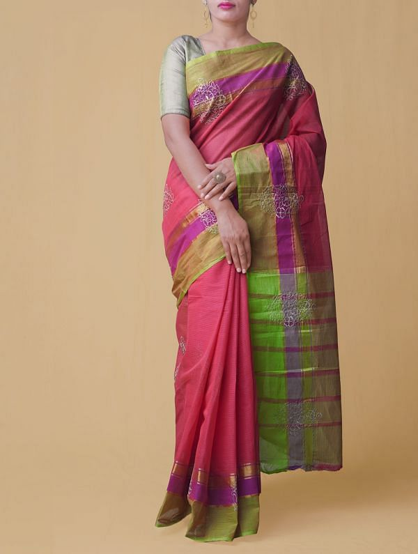 Online Shopping for Red Pure Handloom Mangalgiri Cotton Saree  with Weaving from Andhra Pradesh at Unnatisilks.comIndia