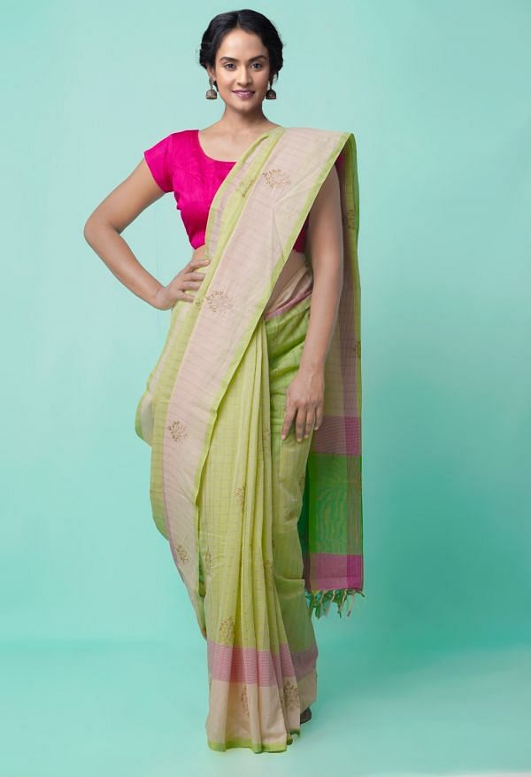 Green Pure Handloom Mangalgiri  Cotton Saree