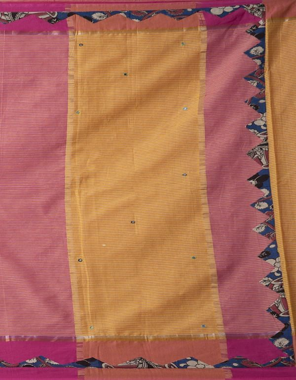 Online Shopping for Pink Pure Kalamkari Handloom Mangalgiri Cotton Saree with Embroidery Work from Andhra Pradesh at Unnatisilks.comIndia