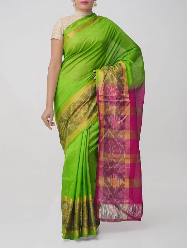 Green Pure Handloom Kanjivaram Silk Cotton Saree