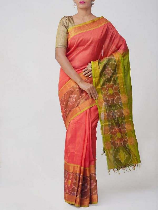 Orange Pure Handloom Kanjivaram Silk Cotton Saree