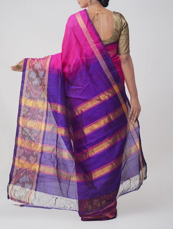 Pink Pure Handloom Pochampally Silk Cotton Saree with Ikat Border