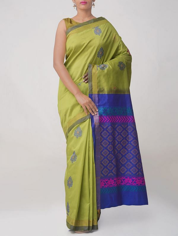 Green Pure Handloom Gadwal Silk Cotton Saree
