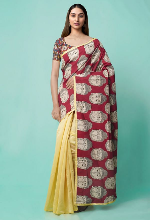 Online Shopping for Red-Yellow  Chanderi Soft Silk Saree with Kalamkari, Embroidery from Rajasthan at Unnatisilks.comIndia