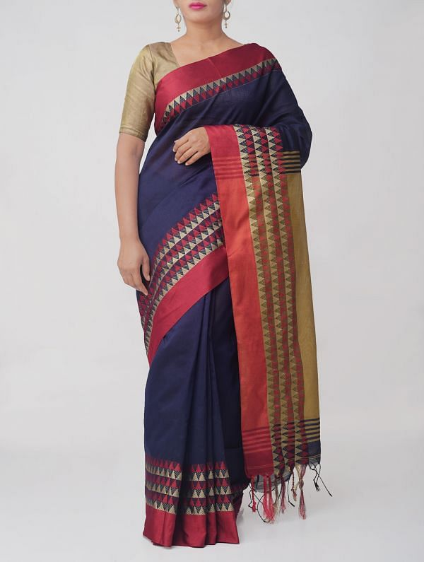Navy Blue Pure Handloom Bengal Linen Saree with Tassels