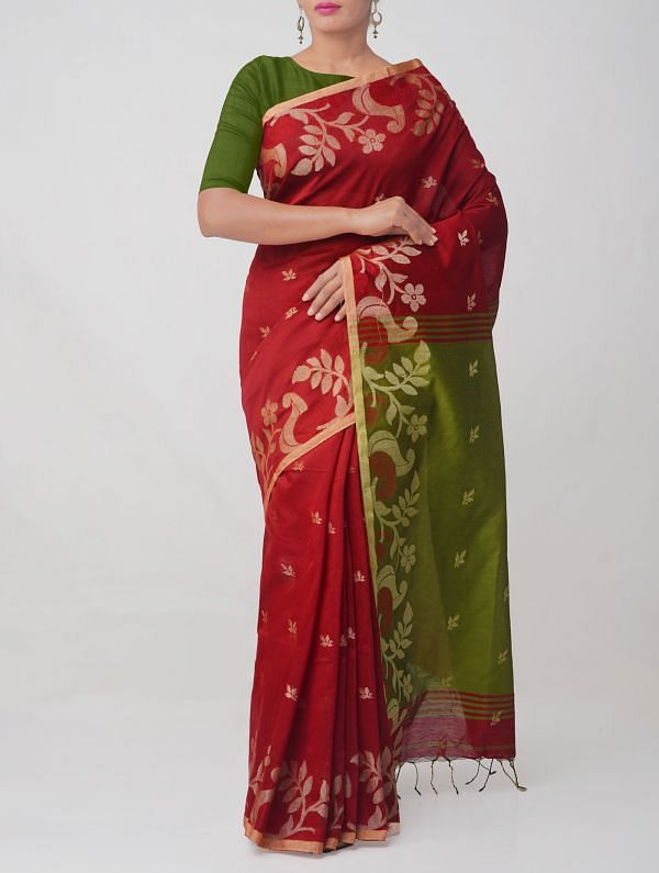 Red Pure Handloom Bengal Linen Saree with Tassels