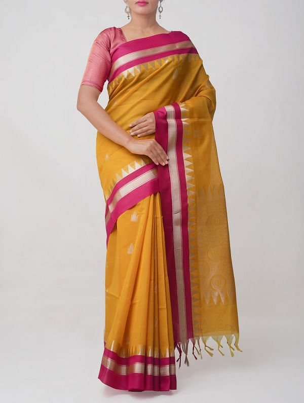 Yellow Pure Handloom Kanchi Sico saree with Tassels