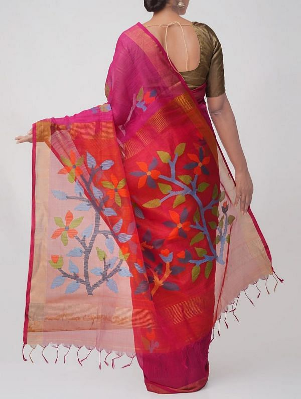 Pink Pure Mahaeswari Handloom Sico Saree With Jamdhani