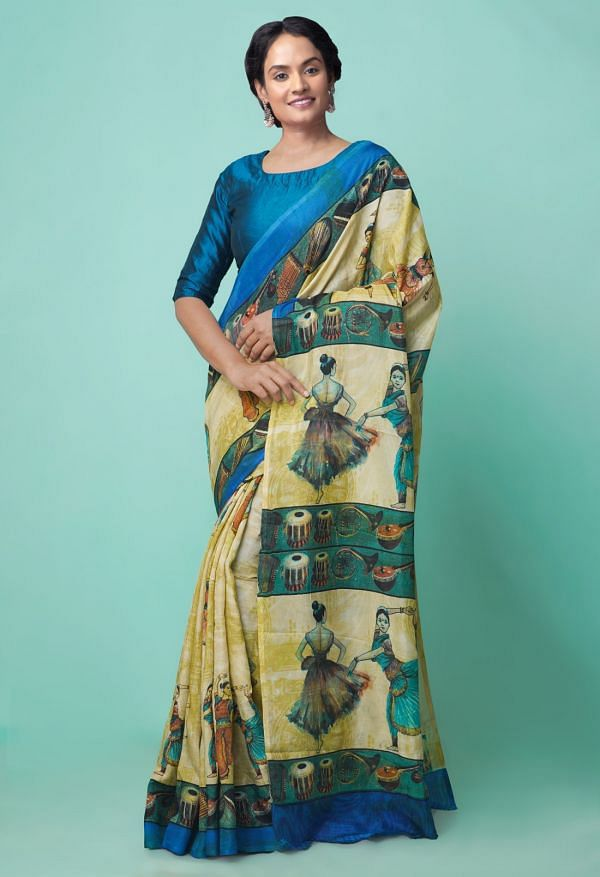 Online Shopping for Brown  Digital Printed Crepe Soft Silk Saree with Fancy/Ethnic Prints from Punjab at Unnatisilks.comIndia