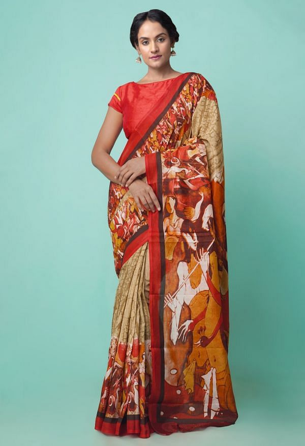 Online Shopping for Brown-Red  Digital Printed Crepe Soft Silk Saree with Fancy/Ethnic Prints from Punjab at Unnatisilks.comIndia