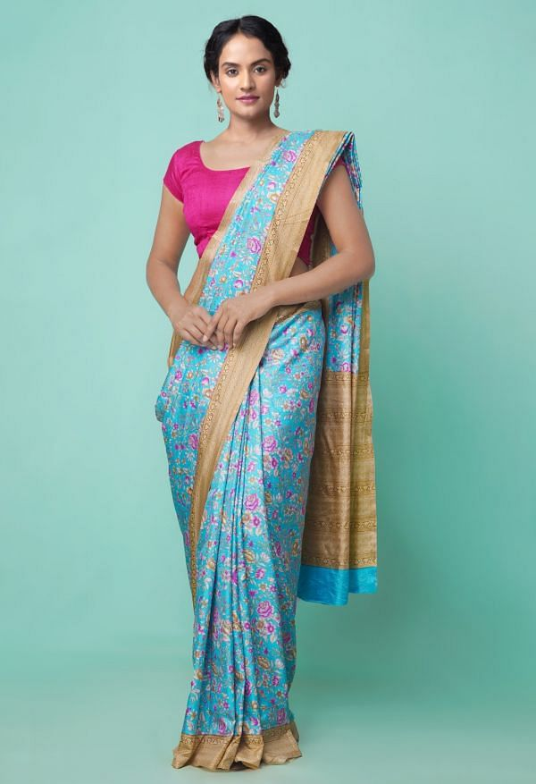 Online Shopping for Blue  Fancy Printed Crepe Soft Silk Saree with Fancy/Ethnic Prints from Punjab at Unnatisilks.comIndia