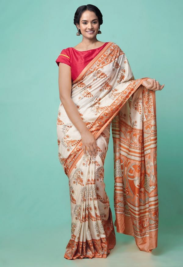 Online Shopping for Ivory  Fancy Printed Crepe Soft Silk Saree with Fancy/Ethnic Prints from Punjab at Unnatisilks.comIndia