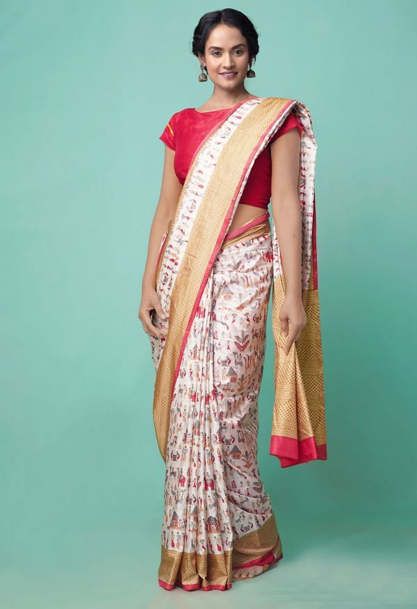 Online Shopping for Ivory  Lepakshi Printed Crepe Soft Silk Saree with Fancy/Ethnic Prints from Punjab at Unnatisilks.comIndia